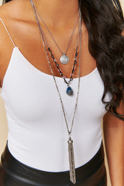 Edgy Attitude Drop Tassel Necklace (Silver)