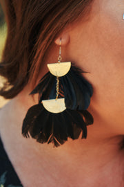 Nicolette Feather Earrings (Black)