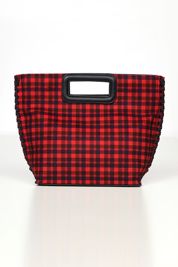 Checking Out Plaid Tote Purse (Red) - NanaMacs