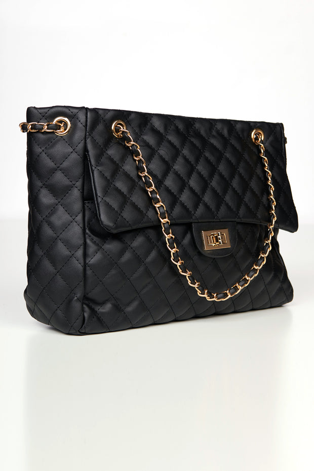 Heading Out Quilted Faux Leather Tote (Black) - NanaMacs