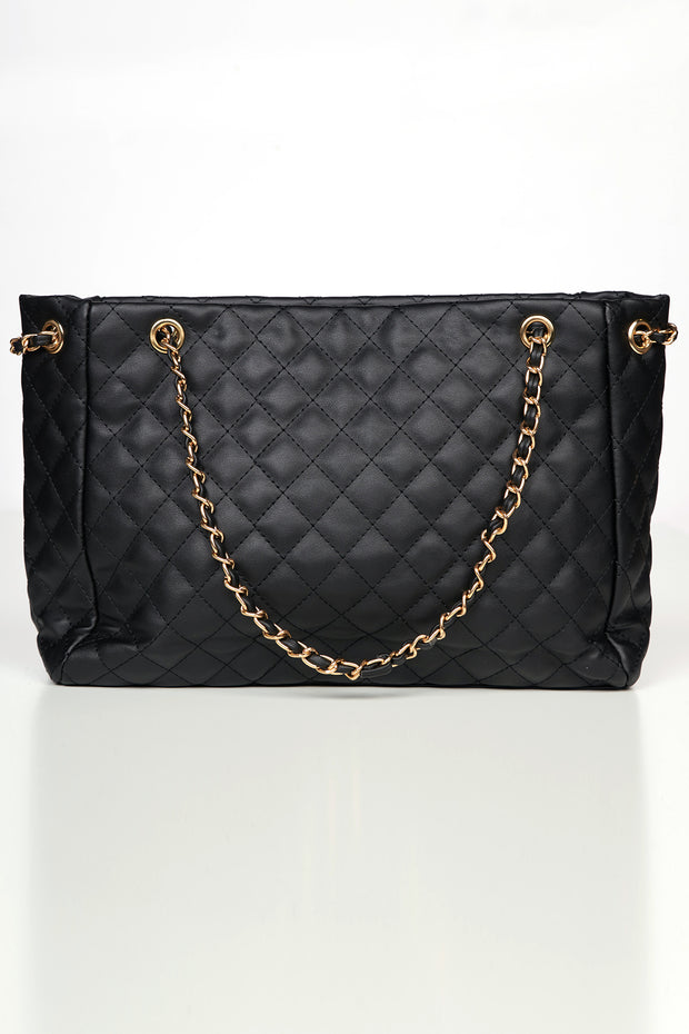 Heading Out Quilted Faux Leather Tote (Black)