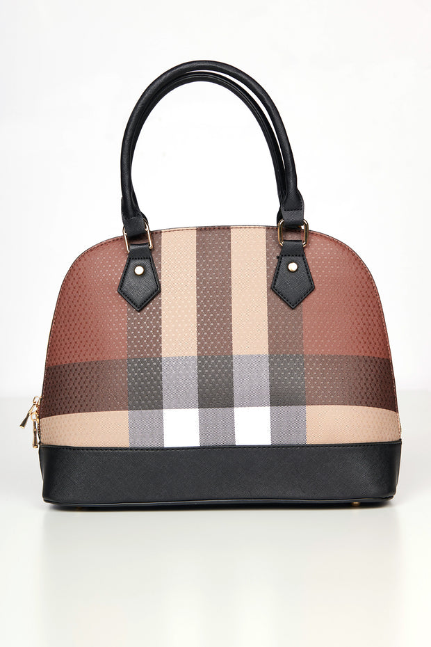 All Checked In Plaid Purse Set (Black) - NanaMacs