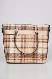 In Haute Pursuit Plaid Purse Set (Gold) - NanaMacs