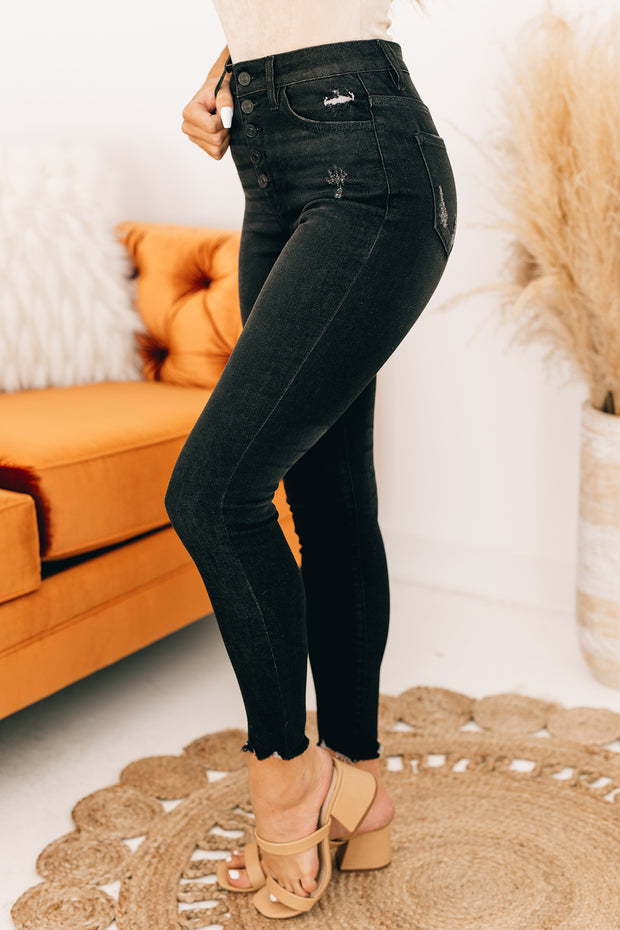 It's Our Time High Rise Distressed Kancan Jeans (Dark Grey) - NanaMacs