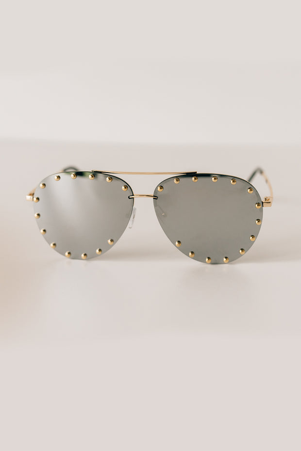 Call Me Classic Studded Aviators With Case (Black/Silver) - NanaMacs
