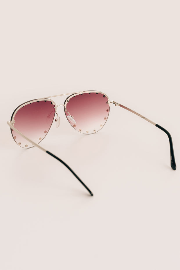 Call Me Classic Studded Aviators With Case (Champagne) - NanaMacs