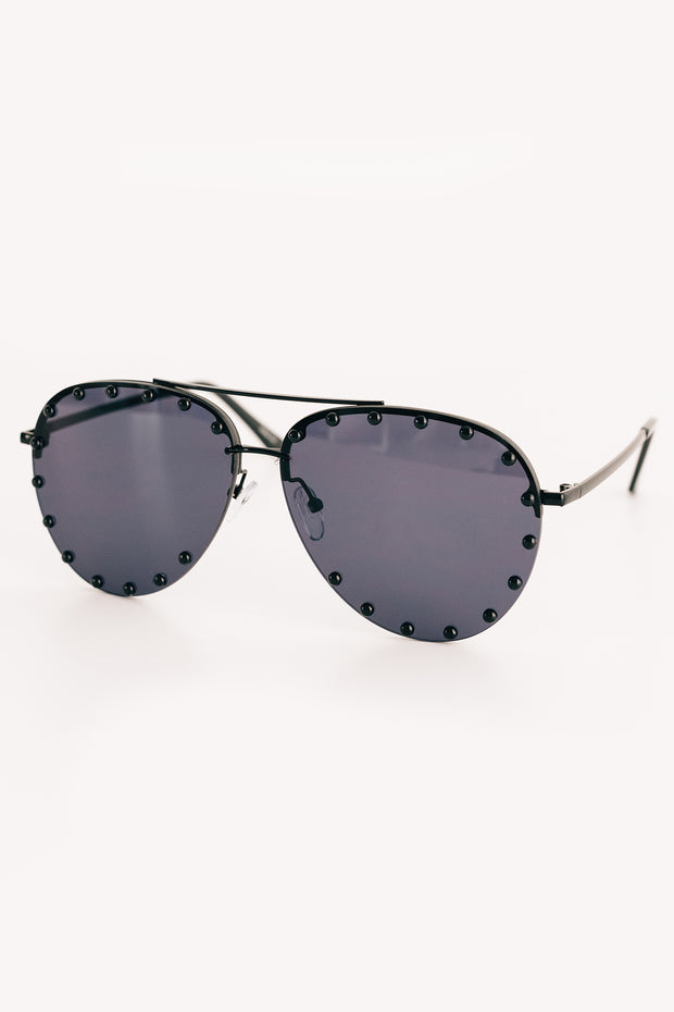 Call Me Classic Studded Aviators With Case (Black) - NanaMacs