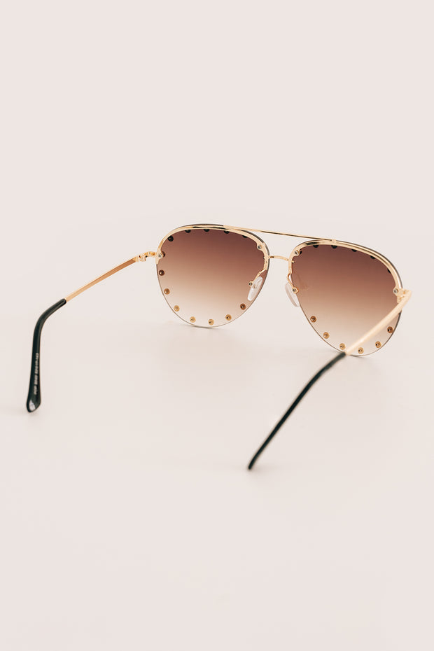 Call Me Classic Studded Aviators With Case (Brown/Gold) - NanaMacs