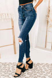 Don't Forget High Rise Distressed Jeans (Dark) - NanaMacs