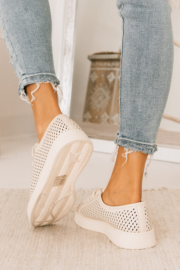 Playing Favorites Perforated Sneakers (Beige) - NanaMacs
