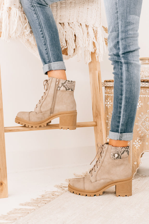 Woman Of Action Lace Up Boots (Taupe/Python) - NanaMacs