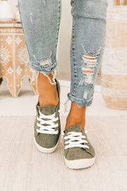 Make Your Own Way Slip On Sneakers (Olive) - NanaMacs