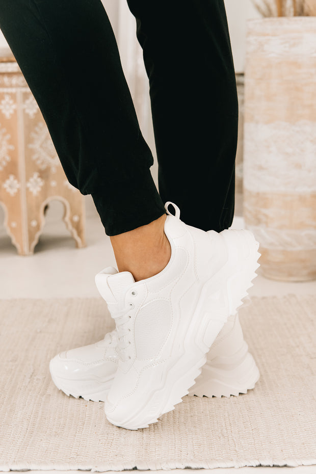 Best Of The Bunch Chunky Sole Sneakers (White) - NanaMacs