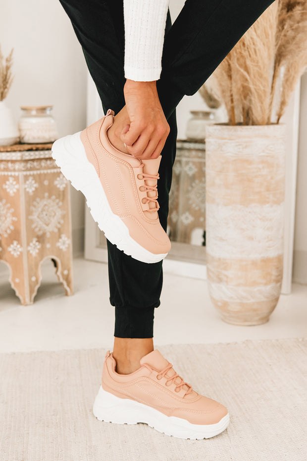 Blushing Beauty Chunky Sole Sneakers (Blush) - NanaMacs