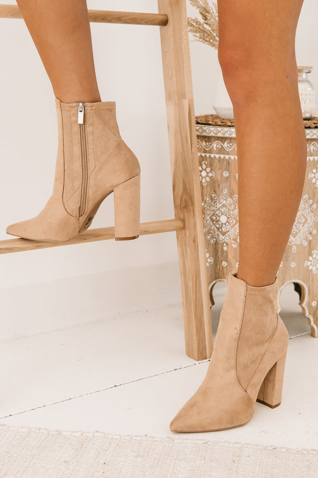 Nice To Meet You Suede Slim Ankle Booties (Warm Taupe Suede) - NanaMacs
