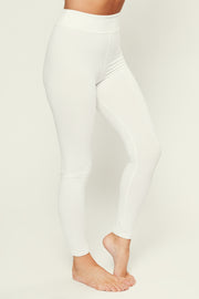 Waiting For The Weekend High Waisted Basic Leggings (White)