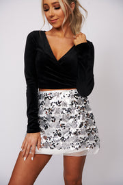 You're In Luck Velvet Crop Top (Black)