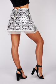 Sparkle For Days Sequin Mini Skirt (Silver) - NanaMacs
