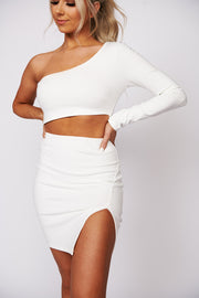 Moments Like These One Shoulder Bodycon Dress (Ivory) - NanaMacs