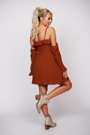 Steal The Scene Off The Shoulder Dress (Cocoa)