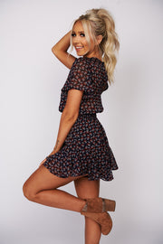 Lovely In London Floral Romper (Navy/Multi) - NanaMacs