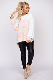 Coolest Girl Popcorn Knit Sweater (Pastel Combo)