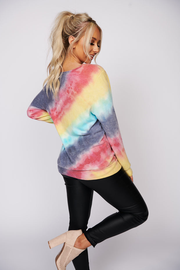 Think About You Tie Dye Top (Navy/Red/Yellow/Blue) - NanaMacs