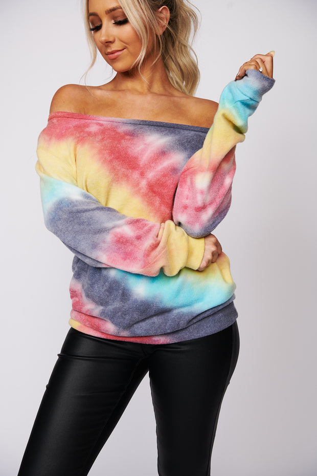 Think About You Tie Dye Top (Navy/Red/Yellow/Blue)