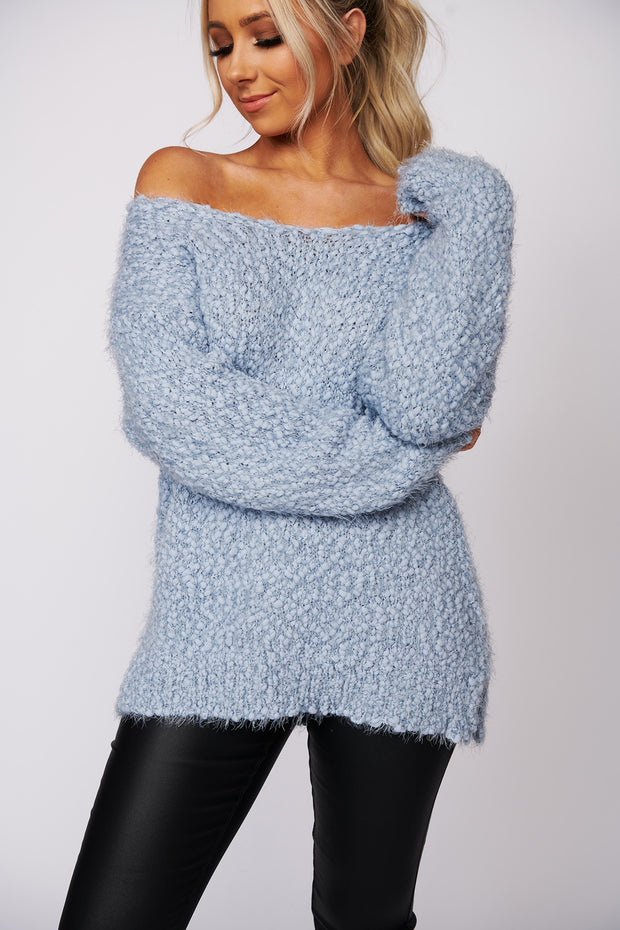 First To Know Popcorn Knit Sweater (Light Blue)