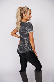 Know What You Want Camo Print Top (Olive Army)
