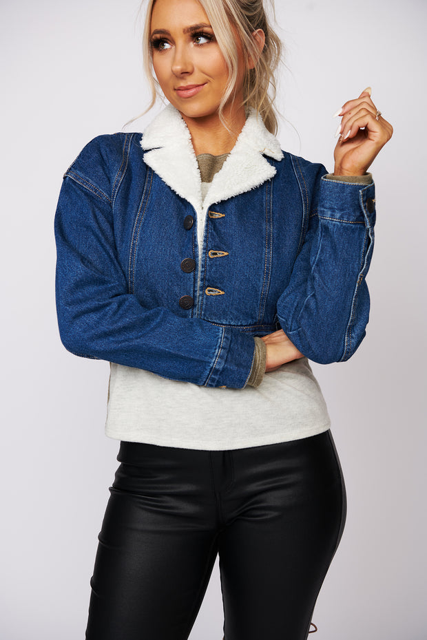 Let's Go On A Date Cropped Denim Jacket (Dark Wash)