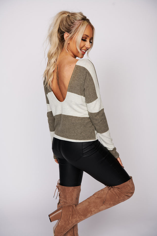 Modern Gal Long Sleeve Striped Top (Olive)