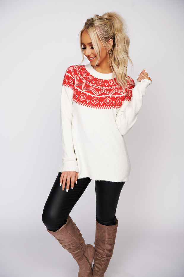 Festive Feelings Fair Isle Print Sweater (Ivory/Red) - NanaMacs