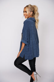 This Is It Chenille Turtleneck Sweater (Blue) - NanaMacs