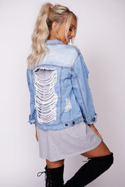 Not Giving Up Faded Distressed Denim Jacket (Medium Wash)