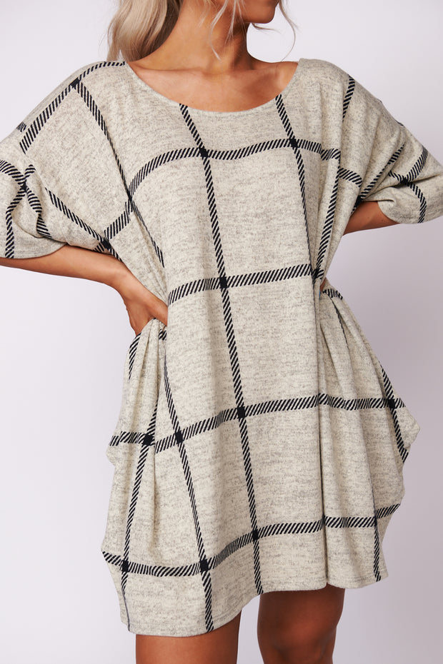 All Up To You Grid Pattern Tunic (Oatmeal)