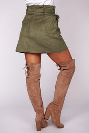 Just Take A Look Buttoned Suede Skirt (Olive) - NanaMacs