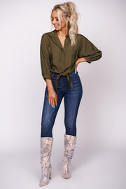 Total Relaxation Bubble Sleeve Crop Top (Olive)