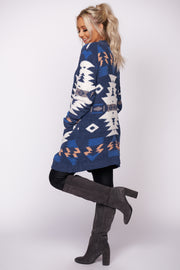 Just Admit It Aztec Print Cardigan (Denim)