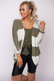 Call It Love Striped Cardigan (Olive)