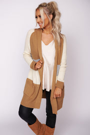 Just Be Happy Color Block Cardigan (Camel/Ivory)