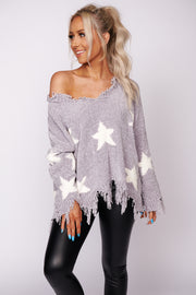 Just Be Yourself Chenille Star Print Fringe Sweater (Grey) - NanaMacs