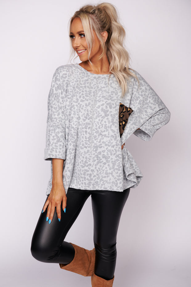 Come Back Around Leopard Print Top (Heather Grey) - NanaMacs
