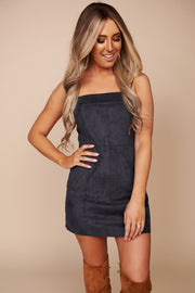 Afternoon Glow Faux Suede Dress (Navy)