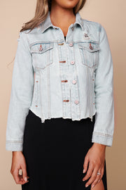 Finishing Touch Distressed Denim KanCan Jacket (Light Wash) - NanaMacs