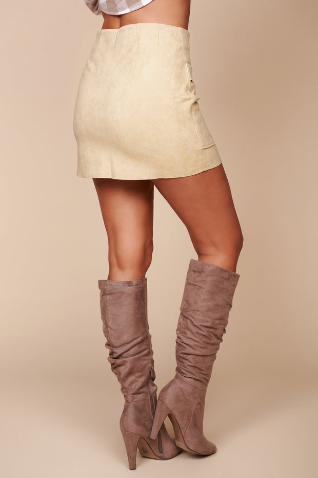Look At You Buttoned Suede Mini Skirt (Sand) - NanaMacs