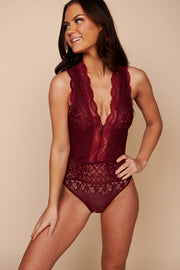 It Had To Be You Lace Bodysuit (Burgundy) - NanaMacs