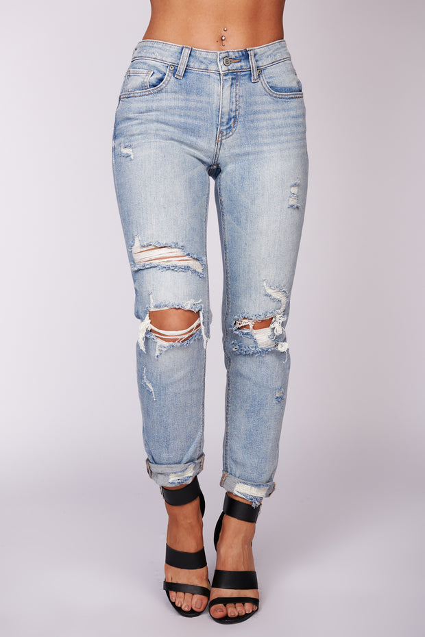 Proof Of Sass Distressed Jeans (Light Wash) - NanaMacs
