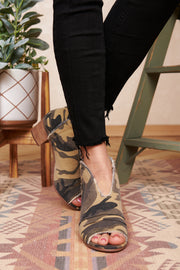 Feeling Fearless Peep Toe Booties (Camo) - NanaMacs
