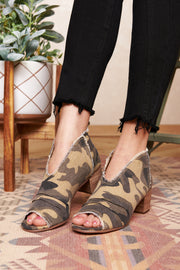 Feeling Fearless Peep Toe Booties (Camo)